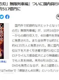 《鬼灭之刃:无限列车篇》日本票房突破400亿日元 独成一档