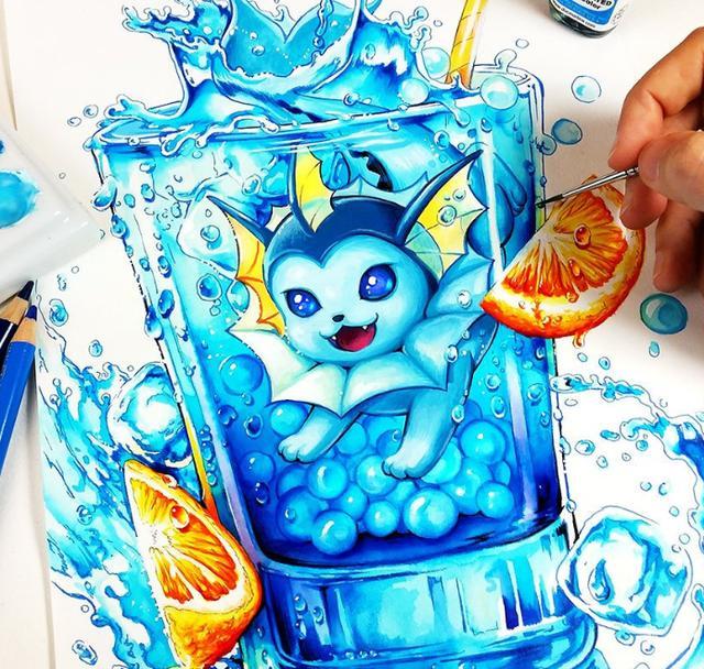 夏天看这个正过瘾,日本插画师将宝可梦和冷饮做了结合