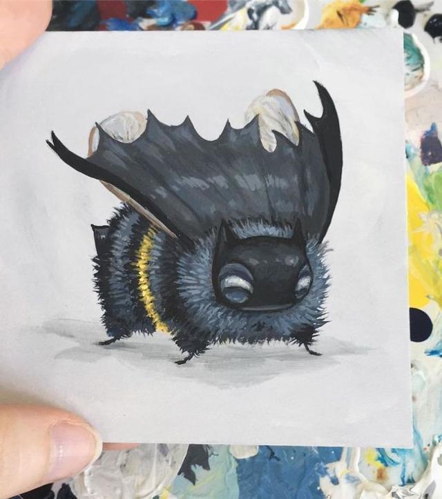 当皮卡丘变成了蜜蜂,加拿大艺术家的这些画都好可爱