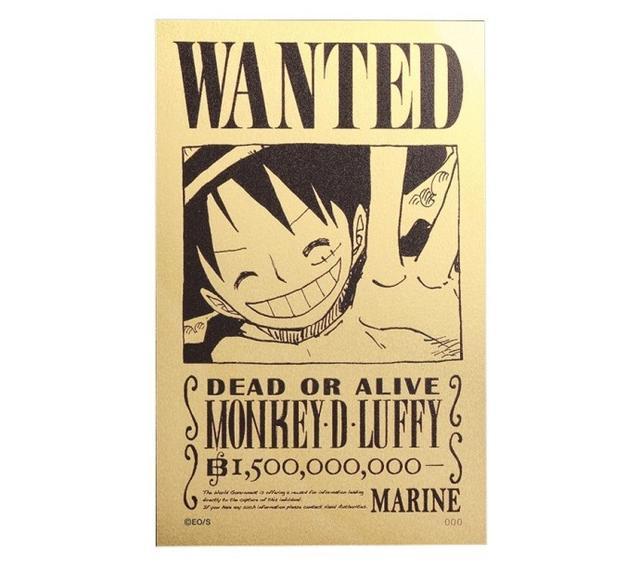 《海贼王》发售纯金通缉令:通缉金额15亿,售价约2500人民币