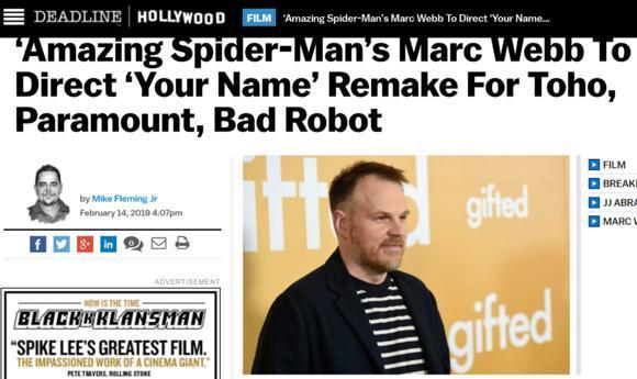 真人版《你的名字》女主是印第安少女?导演曾导演《超凡蜘蛛侠》