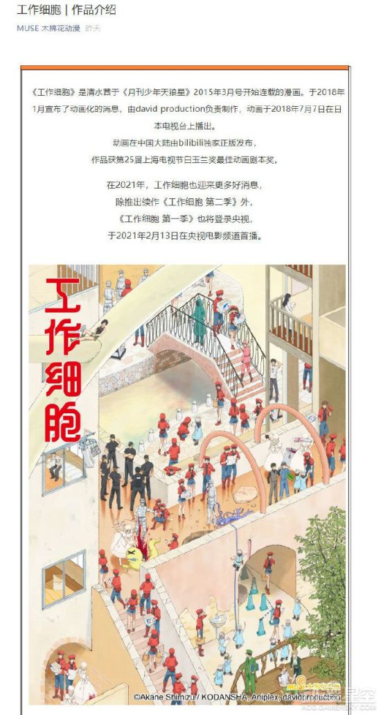 动画《工作细胞》即将登陆央视 2月13日在CCTV6播出 